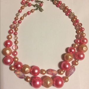 Vintage Pink Bauble Necklace Murano Glass